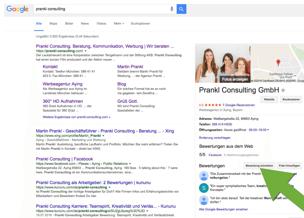 Prankl Consulting Bewertung Google Places