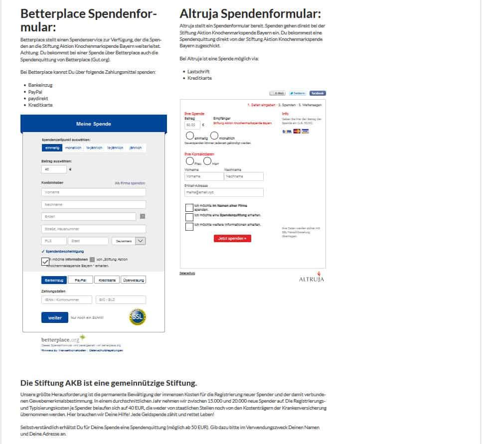 Die Spendenformulare auf der Website eingebettet