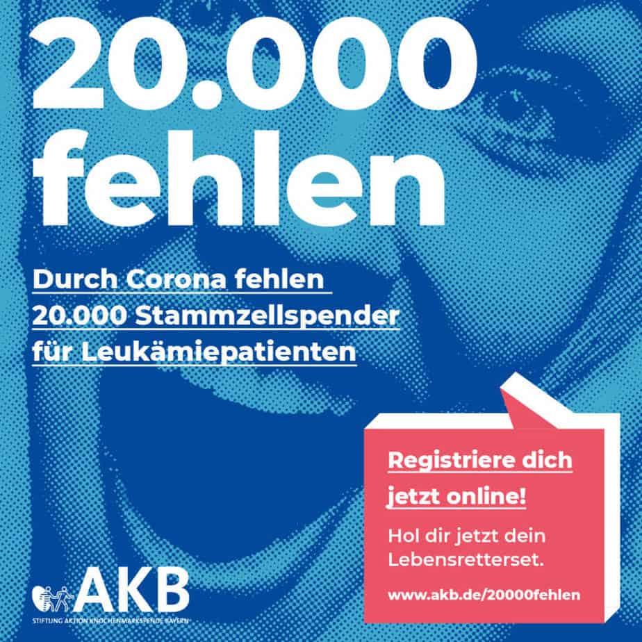 Werbekampagne Bayern für die Stiftung AKB unter dem Motto: 20.000 fehlen